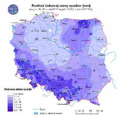 Ocena aktualnej i prognozowanej sytuacji hydrologicznej 04.07.2011